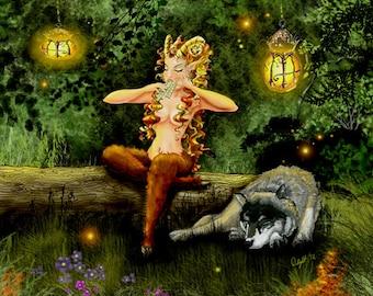 female faun, mythology decor,wolf art, fantasy art,greek mythology, woodlands,Music hath Charms, A limited edition 11x14 unframed print