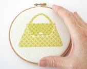 Modern cross stitch pattern PDF - Lime Green Purse, Fashion Collection