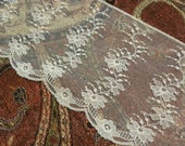 """Gorgeous Vintage Victorian French Vintage Creamy Ivory Scalloped Net Embroidered Lace Trim 4"""" Wide Bridal Wedding"""