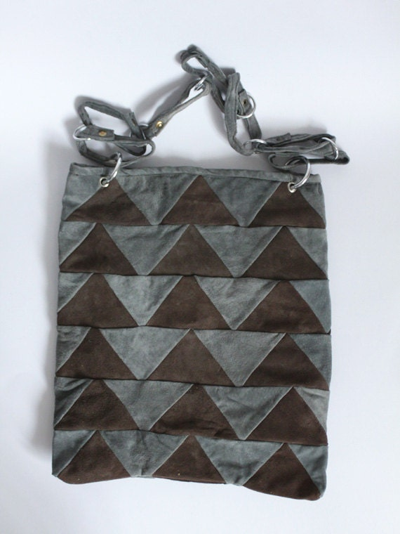 Geometric suede tote bag in blue and brown