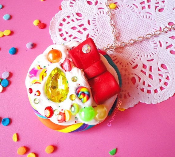 Yummy NEON Rainbow Lollipop with Whipped Cream, Gems, Red Bow, rhinestones and fruits NECKLACE