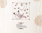 "Nursery Rhyme Art Cat - ""Hey Diddle Diddle"""