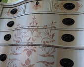 SOLD Pearl and Gold Stripe Silk Finish Chest of Drawers Vintage Hand Painted Copper Stencil