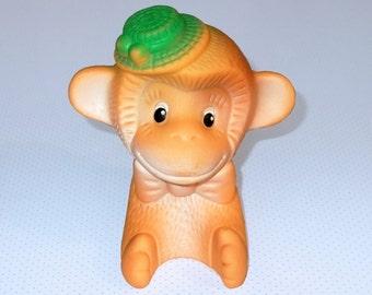 Vintage Soviet Toy Orange Monkey, Happy Monkey Rubber Toy