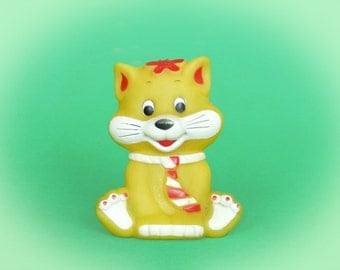 Vintage Yellow Cat with Tie - Rubber Toy