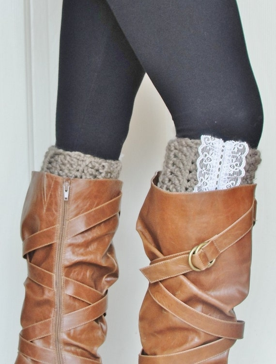 Crochet Boot Cuffs in Taupe w/ Lace accent