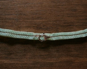Pale Seafoam Green and Shiny Silver Striped Peyote Bracelet