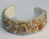 October 2.88 Carat Wela Ethiopia Opal Beaded Cuff, freshwater pearls and 24K gold plated seed beads
