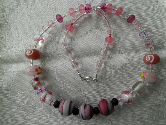 REDUCED, Pink and Purple Glass Necklace, 18 Inches, HANDMADE