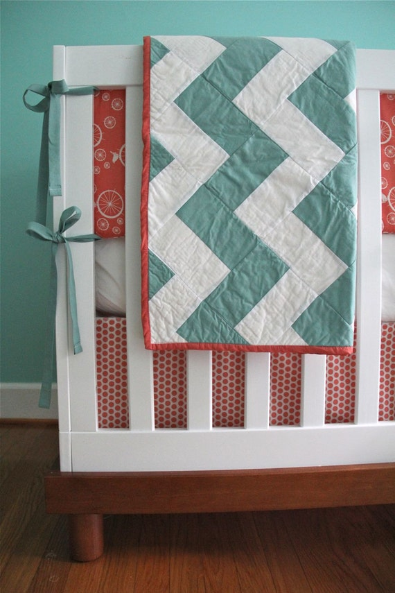organic nursery in aqua and coral for becca