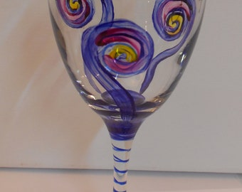 "Handpainted Wine Glass ""Complimentary"" by C.C. Pruitt"