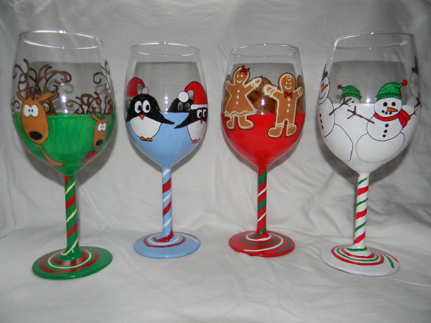 holiday hand painted wine glasses set of four