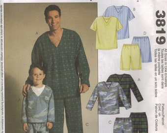 McCall's Sewing Pattern 3819 - Men's and Boys' Pajamas (All sizes)