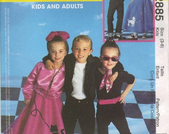 McCall's Costume Sewing Pattern 2885 - Adult's & Kids' 50's Costumes (3-8, S-M, L-XL)