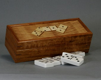 Hububali Domino Game Box for 2 1/4  inch dominoes.   Marquetry top using Anigre, Curly Maple and Walnut veneers.