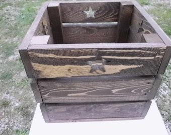 Wooden Storage Crate With Stars, Walnut Finish, Storage box, Home Decor