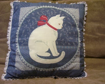 Kitty cat throw Pillow for sofa or bed, Silver embroidered accents with lace trim, Handmade