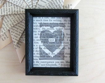Framed Love Poetry - Black Ink Drawing - Book Paper Art - Original Art - Black & White Art Valentine - Heart Wall Decor - First Anniversary