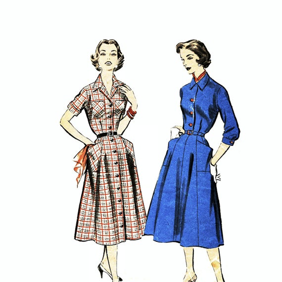 Advance 8436, Vintage Plus Size, Dress Pattern, Late 50s or very Early 60s, Size 44 Bust. Classic Shirtwaist Dress Pattern