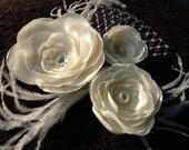 Fascinator, Wedding Fascinator, Bridal Hair Clip, Feather Fascinator,  Wedding Hair Clip, Bridal Fascinator, French Netting