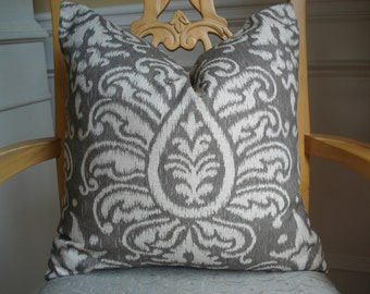 Spa Blue Linen Pillow Cover Appliqued With White By Drkdesigns