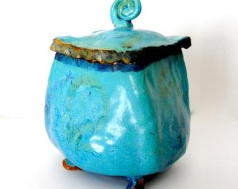Turquoise Stoneware Pot  Lidded Cache