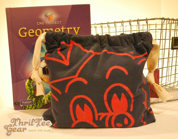 Lunch Bag, Eco Friendly, Upcycled from ThrifTee Gear. Piggly Wiggly. Created from upcycled t-shirt with food safe, water repellant lining.