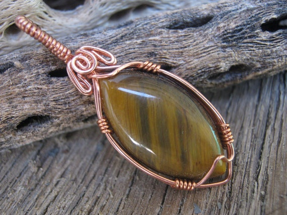 Tiger Eye Pendant, Wire Wrapped