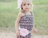 Lace Romper Set- Baby Lace Romper- Baby Romper- Lace Romper- Lace Petti Romper- Baby Girls 1st Birthday Outfit- Shabby Chic- Grey