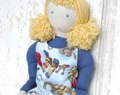 """Waldorf Inspired Style Soft Cloth Doll """"Lara"""" with Reversible Dress"""