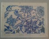 Winter's Dream  8 x 10 linocut print