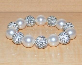 14mm White Ivory Pave Crystal Ball Bead and Swarovski Pearl Stretch Bracelet - 1414B - SW8