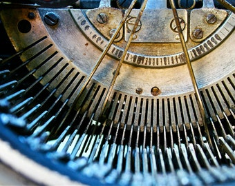 Abstract Industrial Fine Art Photography Industrial Antique Typewriter, Typed 8x12