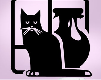 Black Cat Decal - Vase in Window Vinyl Wall Decal, Unimpressed Cat Animal Silhouette 0812206WDE