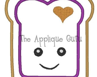 Peanut Butter - Jelly Toast Applique -- Machine Embroidery Design