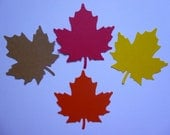 24 Large Maple Leaf Die Cuts- Red, Yellow, Orange and Brown- Card Stock Die Cuts- Autumn Decor, Thanksgiving Decorations, Embellishments