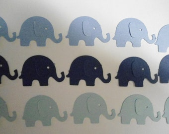 100 Mixed Blue Elephant Die Cuts- Double Sided- Table Confetti, Baby Shower Decoration, Scrapbook Embellishments