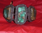 Vintage American Indian Bracelet ....Chunky Turquoise and Silver....Hand Wrought by Native Americans in the Southwest
