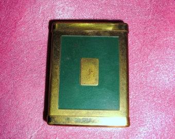 REDUCED....Collectibles ....Tobaciana .....Rogers Slyde-Lok Cigarette Case / Brass and  Deco Green .....Elegant Cigarette Case ..... 1930's