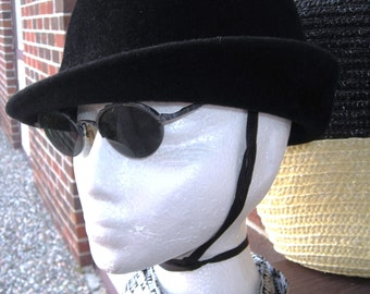 Are You Mod......Seventies Black Fur Felt  Mod Cap With Chinstrap