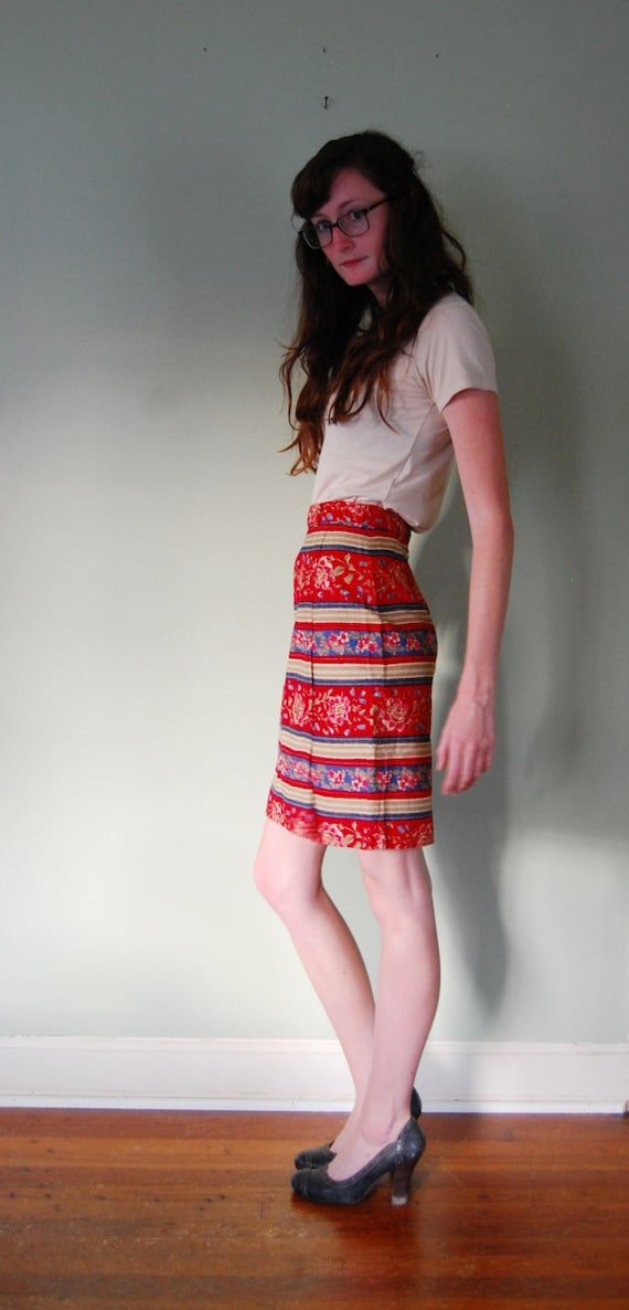 Vintage Southwestern Striped Red Cotton Skirt / S / 4