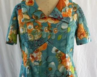 Floral Jersey Knit Mini Dress, vintage 1960s, size medium-large (10, 12, 14)