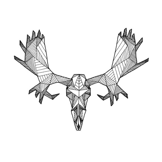 Items Similar To Detailed Geometric Moose Skull Drawing Digital Art Print From Original