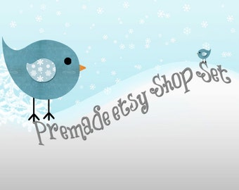 Christmas Etsy Shop Banner Avatar Image Set - Snow Birds