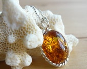 Baltic Amber Necklace, Amber Jewelry set in sterling silver bezel