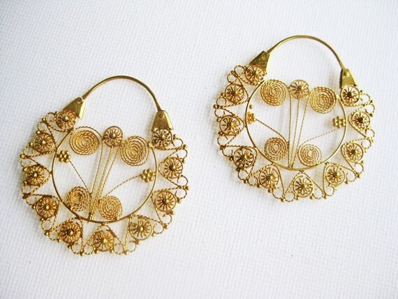 Filigree Hoop Earrings in Gold dipped Silver from the Philippines (Reproduction)