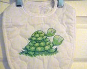 Quilted  Baby Bib Two Tickled Turtles Ready to Ship Green Bibs Shower Gift Free Shipping