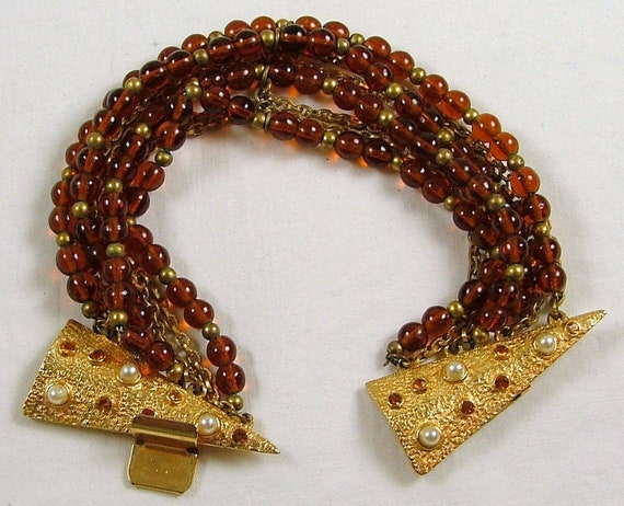 HOBE Amber and Gold Multi Strand Bracelet with Jewel Encrusted Clasp
