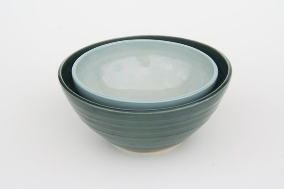Larger Nesting Ceramic Bowls - Dark and Pale Blue