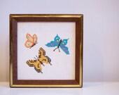 Vintage Framed Butterfly Cross Stitch